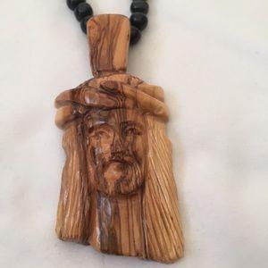Original Jesus Face Carved Wood Necklace
